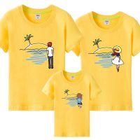 六一活动亲子装夏装新款母女装卡通印花一家三口装短袖T恤潮款