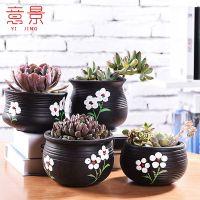 意景多肉植物手绘花盆简约手工陶瓷复古多肉瓷花盆肉肉花器盆栽