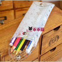 韩版文具;简约透明蕾丝笔袋 淑女收纳袋 创意收纳眼镜盒白色