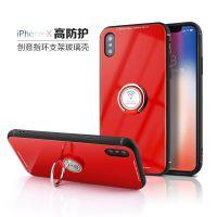 新款iphone支架壳 车载磁吸保护套钢化玻璃外壳 oppor11s手机壳