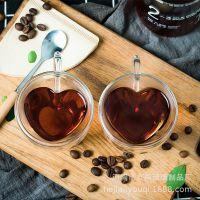 ins双层爱心形玻璃水杯茶杯情侣杯马克杯家用套装办公泡茶杯礼物