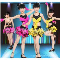 儿童拉丁舞服装新款 少儿女童拉丁舞表演服演出比赛服装亮片流苏