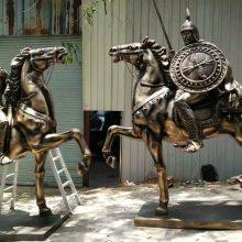 售楼广场大型雕塑欧式人物马拉车 铸铜玻璃钢仿铜圆雕户外景观