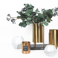 室内装饰摆件轻奢绿色尤加利叶仿真花艺套装/金属插花花器花筒客