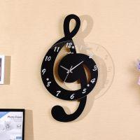 音符创意挂钟装饰现代时尚静音客厅家用钟表墙壁挂表木质简约时钟