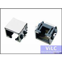 沉板RJ45网络插座-8P破板SMT-有耳-带柱 电脑网络接口威联创供应