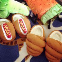 创意秋冬保暖面包加厚包跟拖鞋女 地板热狗情侣家居室内棉拖鞋