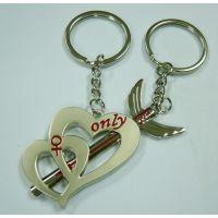 欧美热销 一箭穿心滴胶金属创意钥匙扣 合金钥匙挂件