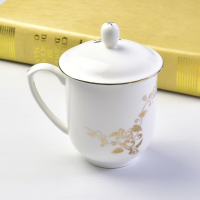 唐山瓷亿美 厂家骨瓷会议杯 陶瓷金边带盖茶杯办公礼品水杯定制可加logo