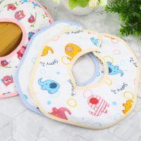 厂家直销卡通图案360度圆形婴儿围嘴 可水洗双排扣立体围兜口水巾