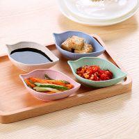 馨友麦秆餐具碗盘碟 创意日用树叶小碟子日式塑料餐具酱油碟批发