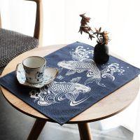 一件代发原创棉麻日式餐垫桌布双鱼锦鲤隔热垫防滑垫餐桌垫茶几垫