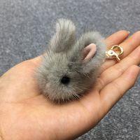 超萌水貂毛兔子小玉兔皮草挂件装死毛绒兔包包手机钥匙扣迷你饰品
