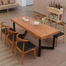 小吃店餐桌椅,橡胶木一桌四椅,公司食堂餐桌椅批发