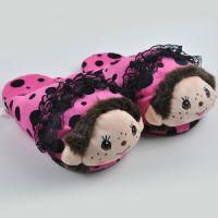 厂家直销秋冬亲子款毛绒拖鞋室内保暖防滑兔毛拖时尚厚底毛绒拖鞋