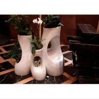 山东玻璃钢花盆 玻璃钢棕色花瓶组合