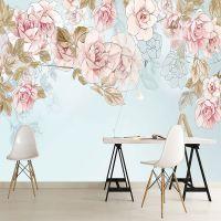 定制北欧粉丝花卉大型壁画客厅电视背景墙纸卧室床头无纺布壁纸