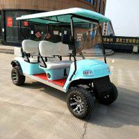供应AS-004正两排4人座湖蓝色高尔夫球车加斗四轮电动车