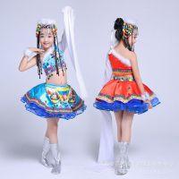 儿童藏族演出服女童单肩水袖扎西德勒少儿少数民族表演服舞台服