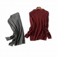 18冬季新品 基础百搭!半高领弹力修身镂空坑条羊绒针织打底衫女