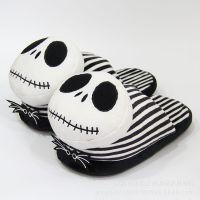 圣诞夜玩具惊魂 骷髅杰克 万圣节鬼怪半包跟居家棉鞋毛绒月子鞋