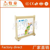 牧童幼儿园可移动木质小展架展板儿童专用实木公告板定制批发