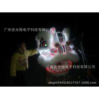 LED发光舞狮道具狮头专业舞龙舞狮发光南狮醒狮鹤狮夜光节日庆典