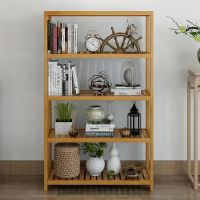 厨房置物架简易书架架子组合多层浴室客厅卫生间落地实木简易楠竹