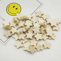 50颗一包 DIY自制手工材料幼儿串珠包 原木色心形五角星卡通木珠