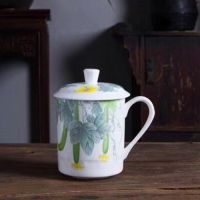 景德镇陶瓷喝茶杯子私人杯 带盖茶杯 订制礼品商务杯 青花瓷杯