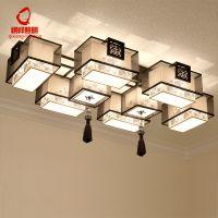 新中式客厅卧室吸顶灯复古简约布艺中国风大气长方形书房灯具灯饰