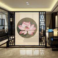 半透明纱雕刻屏风新中式实木玄关隔断客厅酒店可移动风水墙
