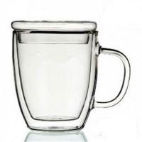 厂家批发高硼硅玻璃双层杯马克杯耐热咖啡杯家用花茶杯带盖带把