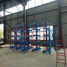 江苏钢管存放架 伸缩式管材货架安装 吊车配套悬臂架 可放12米管材