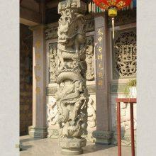惠安石雕龙柱子2米高晚霞红仿古龙柱 福建石雕加工厂特价出售