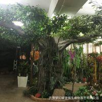 东莞哪里有工厂可以做家树 梦幻城堡定制仿真大树假树榕树大型植物装饰酒店大厅布景实木树干订做