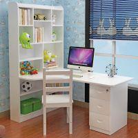 实木儿童书桌简约学生家用写字台转角电脑桌家具组合办公桌带书架