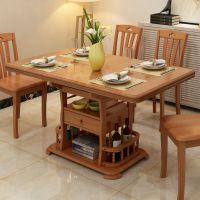 乐玛仕伸缩餐桌小户型功能餐桌椅组合现代新中式伸缩饭桌复古餐桌