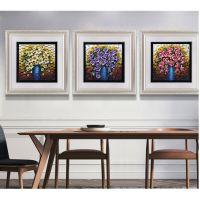 简约欧式花卉有框装饰画 花开富贵树脂浮雕装饰 YF6308三联壁挂壁画
