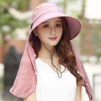 夏季大沿遮阳帽女士防晒户外防紫外线折叠遮脸草帽骑车帽子太阳帽