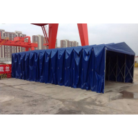 南京工地放料挡雨棚,临时简易仓库彩钢大棚,施工钢筋加工移动雨蓬