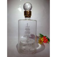 皖酒王玻璃帆船酒瓶磨砂葫芦白酒瓶吹制酿酒王玻璃工艺酒瓶一帆风顺玻璃瓶