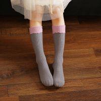 精梳棉中筒袜花边拼接婴幼儿宝宝袜子 手工对目儿童纯棉袜