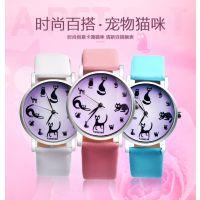 韩版正品 工厂批发小清新可爱猫咪手表 女学生表女士皮带手表