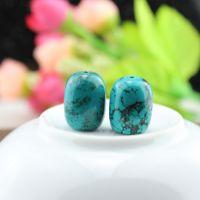 藏式天然绿松石12*16mm 佛珠星月菩提手串手链DIY配件 散珠批发价