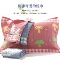 儿童枕巾长枕布艺沙布棉布提花三层两面套装帕子不掉毛情侣四艺盖
