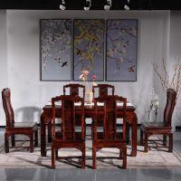 东阳红木家具厂家 黑酸枝餐桌 阔叶黄檀家具价格 欧式餐桌 年年红红木家具