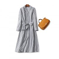 18秋冬新品 日式优雅!气质竖条纹 系带收腰棉麻长款衬衫式连衣裙