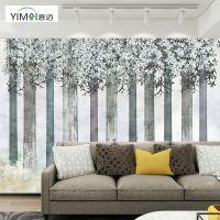 北欧美式意境树林麋鹿墙纸现代简约艺术壁纸电视背景墙定制壁画
