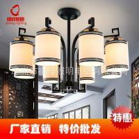 新中式铁艺吊灯酒楼茶楼包厢客厅灯创意仿古吊灯卧室餐厅灯具批发